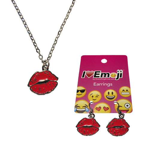 Emoji Women's Chain Necklace & Drop Earrings - Red Lips