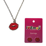 Emoji Women's Chain Necklace & Stud Earrings - Red Lips