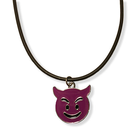 Purple Devil Emoji Rope Necklace