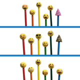 Emoji Yellow Pencil Eraser Toppers 3 Pack