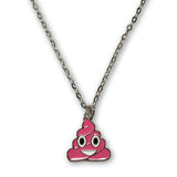 Emoji Women's Chain Necklace & Stud Earrings - Pink Poo