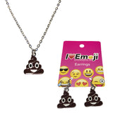 Emoji Women's Chain Necklace & Drop Earrings - Brown Poo