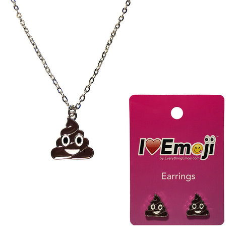 Emoji Women's Chain Necklace & Stud Earrings - Poo