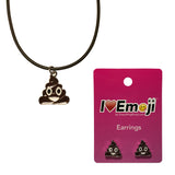 Emoji Women's Rope Necklace & Stud Earrings - Poo