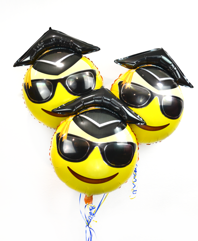 "25"" Emoji Graduation Balloons: Sunglasses 3-Pack"
