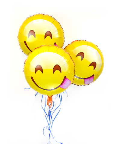 "18"" Face Savoring Delicious Food Emoji Helium Balloons 3 Pack"