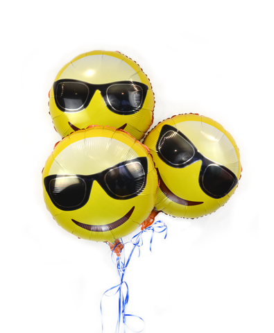 "Emoji 18"" Face with Sunglasses Helium Balloon 3 Pack"