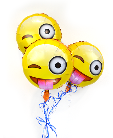 "Emoji 18"" Face with Stuck-out Tongue and Winking Eye Helium Balloons 3 Pack"