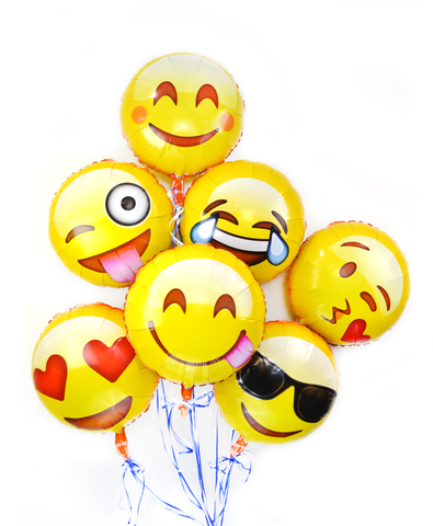 "Emoji 18""  Variety of Emoji Faces Helium Balloon 7 Pack"