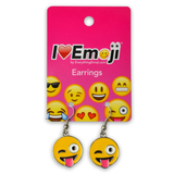 Emoji Tongue Wink Silver Drop Earrings
