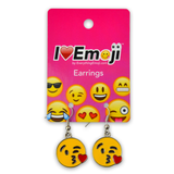 Emoji Kiss Silver Drop Earrings