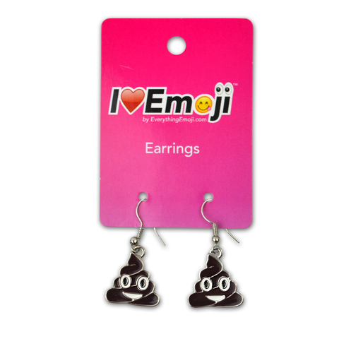 Emoji Brown Poo Silver Drop Earrings
