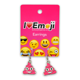 Emoji Pink Poo Silver Drop Earrings