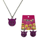 Emoji Women's Chain Necklace & Drop Earrings - Smiling Face with Horns