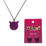 Emoji Women's Chain Necklace & Stud Earrings - Smiling Face with Horns