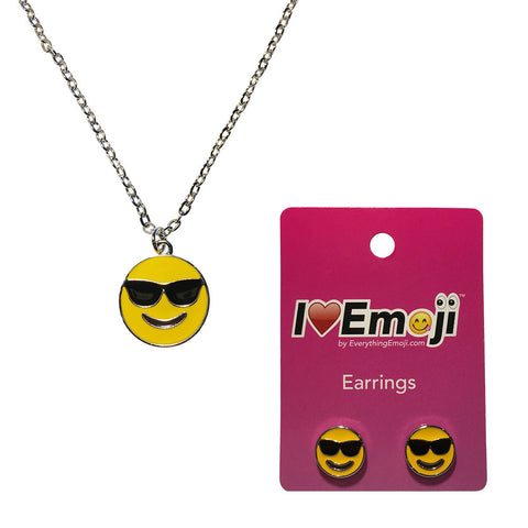 Emoji Women's Chain Necklace & Stud Earrings - Sunglasses