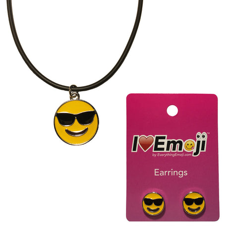 Emoji Women's Rope Necklace & Stud Earrings - Sunglasses