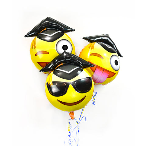 "25"" Emoji Graduation Balloons: Tongue Out Wink + Sunglasses  3-Pack"