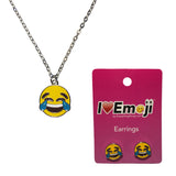 Emoji Women's Chain Necklace & Stud Earrings - Tears of Joy