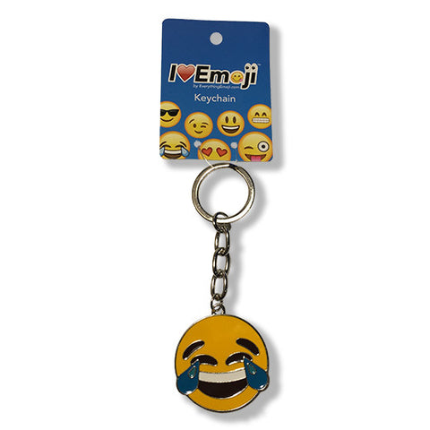 Tears of Joy Yellow Emoji Silver Keychain : Everything Emoji