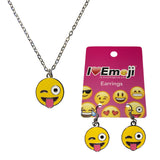 Emoji Women's Chain Necklace & Drop Earrings - Tongue Out Wink