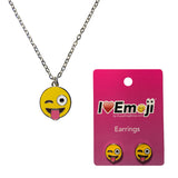 Emoji Women's Chain Necklace & Stud Earrings - Tongue Out Wink