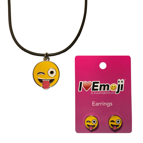 Emoji Women's Rope Necklace & Stud Earrings - Tongue Out Wink