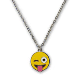Emoji Women's Chain Necklace & Drop Earrings - Tongue Wink