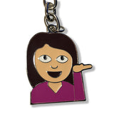 Emoji Woman Keychain | Sassy Girl Emoji | Emoticon Key Ring