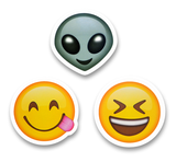 "2"" Emoji Stickers (Alien / Side Tongue / Laughing Face)"