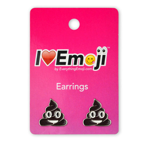 Emoji Brown Poo Silver Stud Earrings