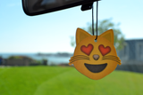 Emoji Heart Eyes Cat Air Freshener (3 Pack - Vanilla Scented)