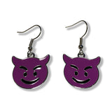 Purple Devil Emoji Silver Dangle Drop Earrings : Fast shipping USA