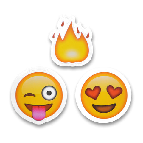 "2"" Emoji Stickers (Fire / Tongue Wink / Heart Eyes)"