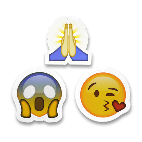 "2"" Emoji Stickers (Hands / Kiss Face / Fear)"