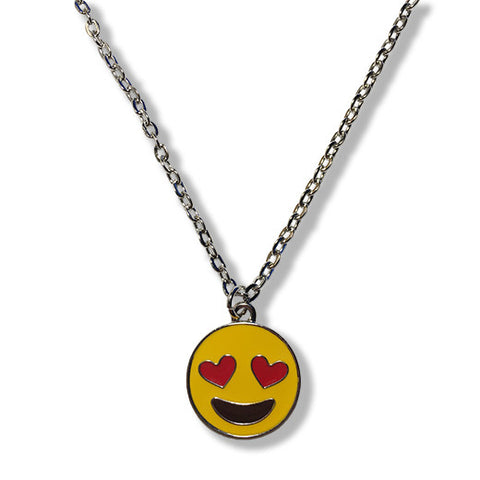 Heart Eyes Emoji Silver Chain Necklace