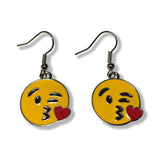 Throwing a Kiss Emoji Silver Dangle Drop Earrings