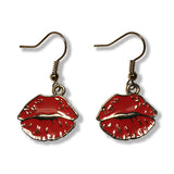 Red Lips Emoji Silver Dangle Drop Earrings