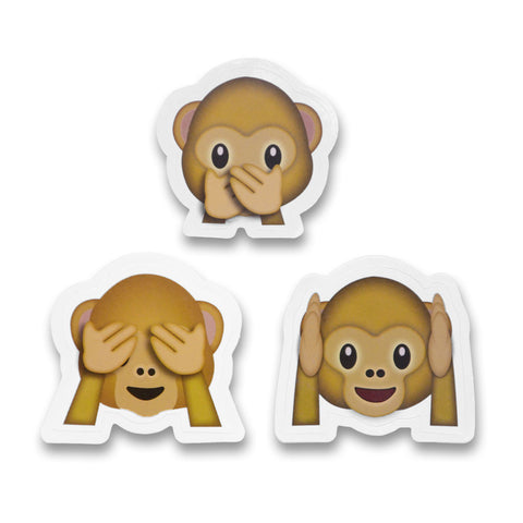 2 emoji stickers see no evil hear no evil speak no evil