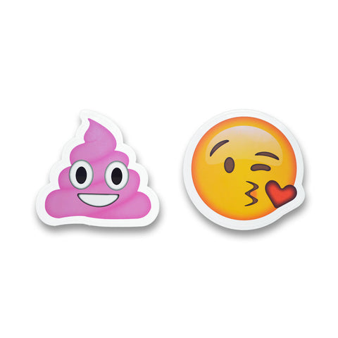 "5"" Emoji Stickers (Pink Poo / Kiss)"