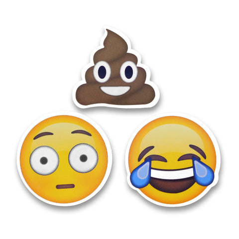 2 emoji stickers poo shock tears of joy