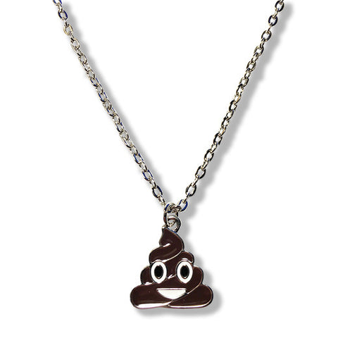Brown Poo - Poop Emoji Silver Chain Necklace