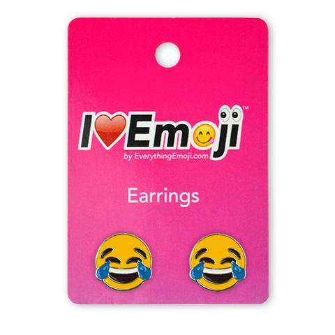 Emoji Tears of Joy Silver Stud Earrings