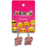 Emoji Red 100% Silver Drop Earrings