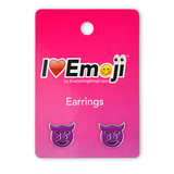 Emoji Purple Devil Silver Stud Earrings