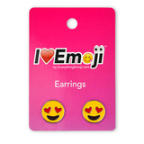Emoji Heart Eyes Silver Stud Earrings