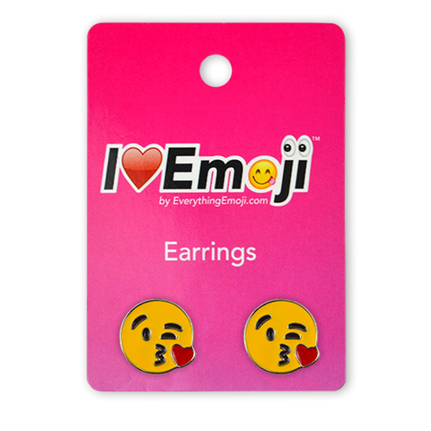 Emoji Kiss Silver Stud Earrings