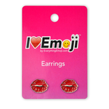Emoji Red Lips Silver Stud Earrings