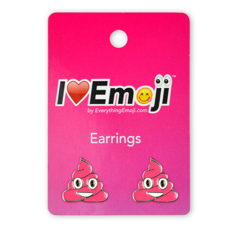 Emoji Pink Poo Silver Stud Earrings