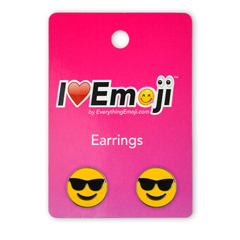 Emoji Sunglasses Silver Stud Earrings